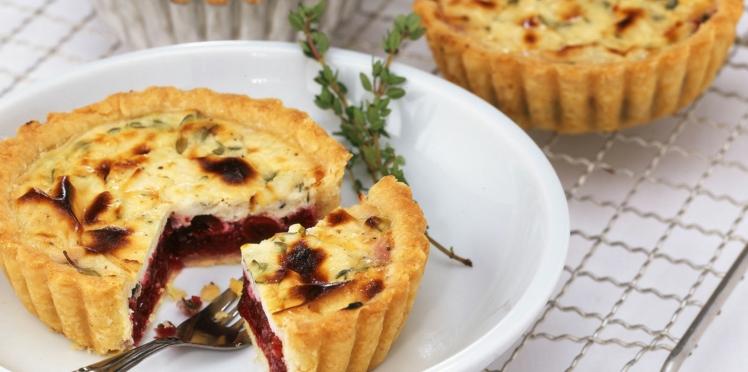 Tartelettes au fromage de chèvre et cranberries