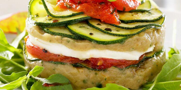Millefeuille de légumes et mozzarella