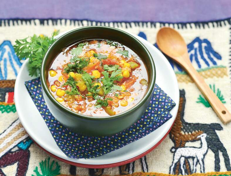 Soupe andine au maïs et au quinoa