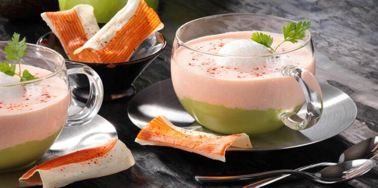 Cappuccino de surimi à l'avocat et mousse de pomme verte au gingembre, chips de surimi