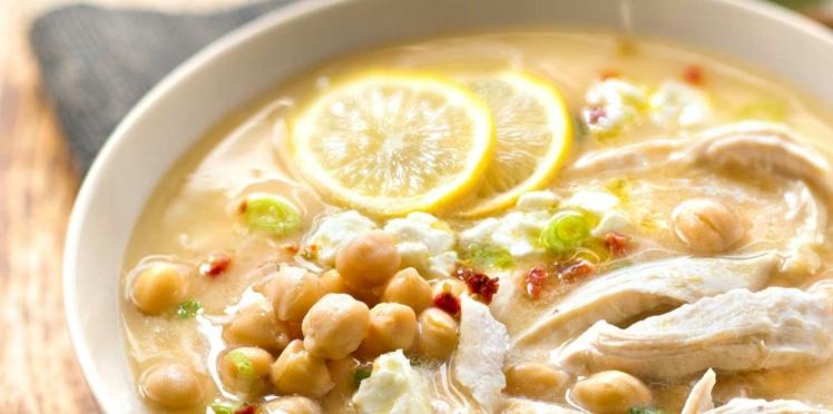 Soupe grecque au poulet et citron