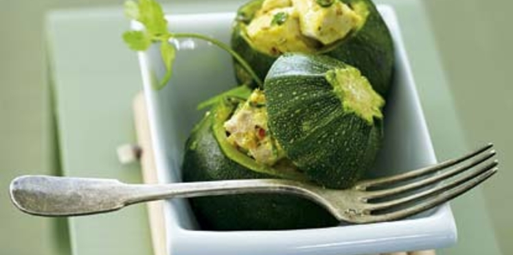 Courgettes rondes farcies au curry de thon blanc