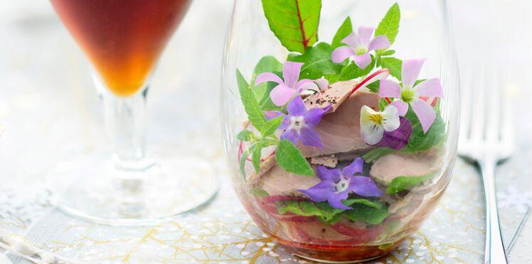 Salade folle foie gras et pétales de fleurs