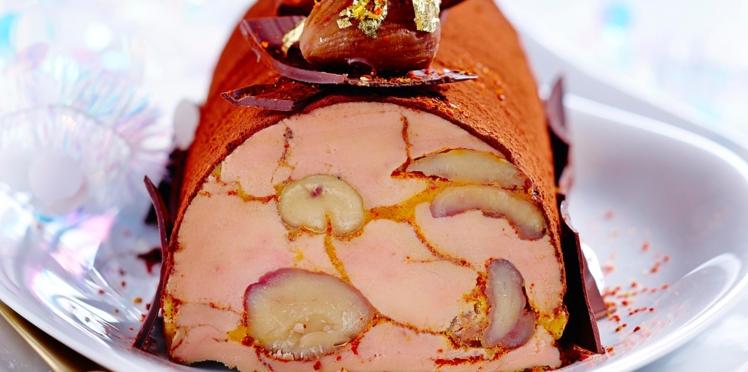 Bûche de foie gras aux marrons et au cacao