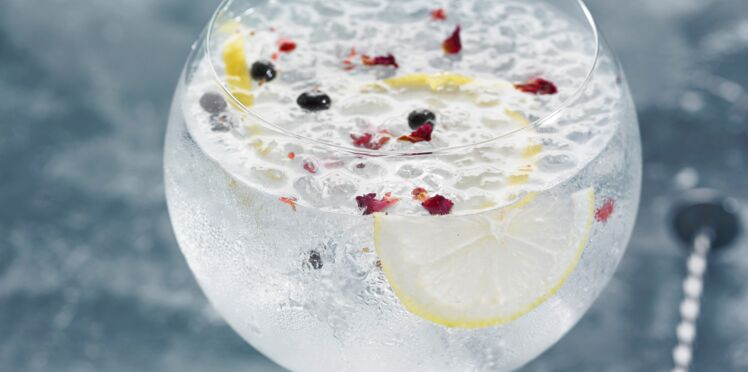 Gin tonic aux baies roses