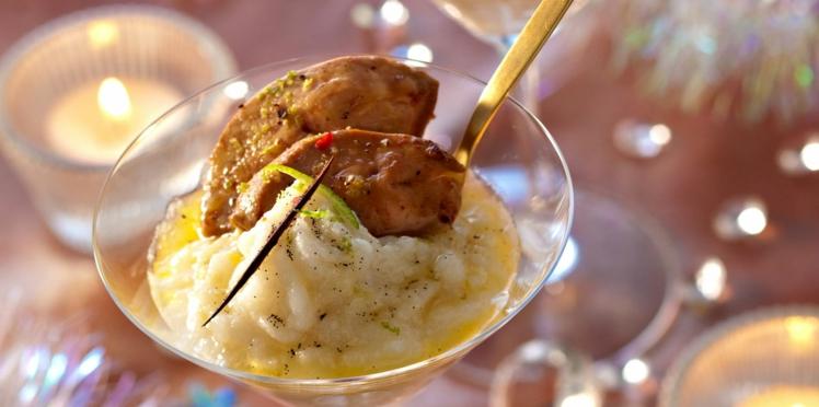 Foie gras chaud, purée de topinambours