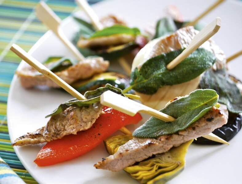 Brochettes de veau façon saltimbocca