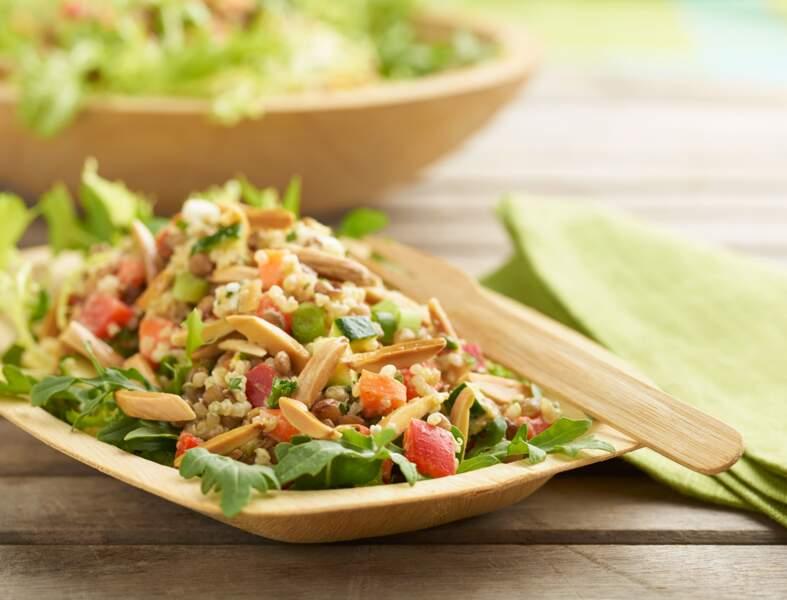Salade d'amandes et lentilles épicées
