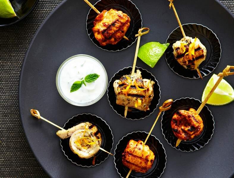 Brochettes de dinde à l'orange et aux épices tandoori