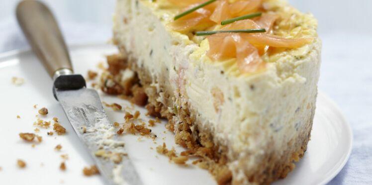Cheesecake au fromage frais et saumon fumé