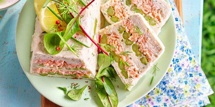 Terrine de bar et saumon aux asperges vertes