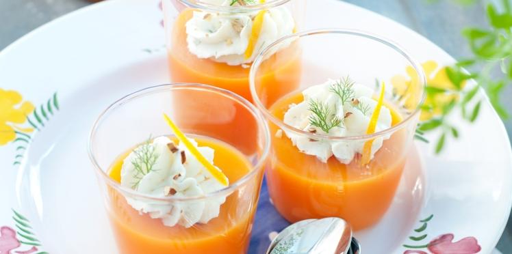 Gaspacho carottes-oranges et chantilly de dorade