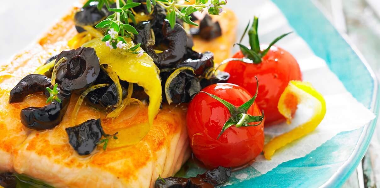 Papillote de saumon aux olives de Nyons et citron