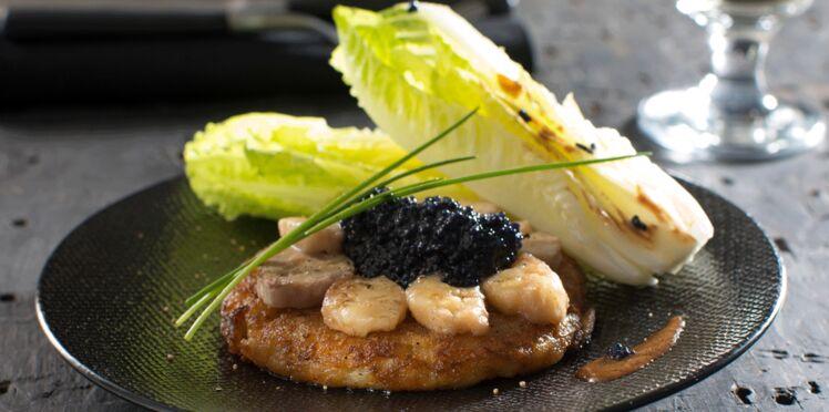 Galette de Rattes du Touquet à la moelle de bœuf et au caviar