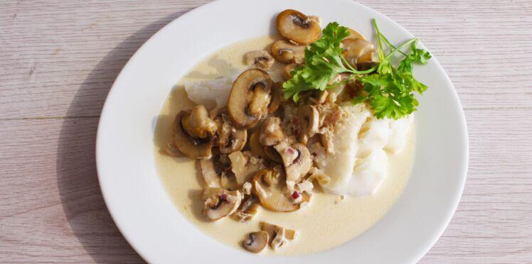 Cabillaud aux champignons sauce normande
