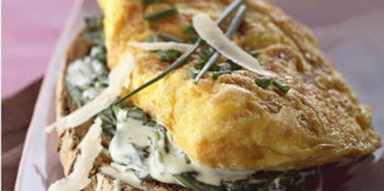Omelette et rôtie d'épinards