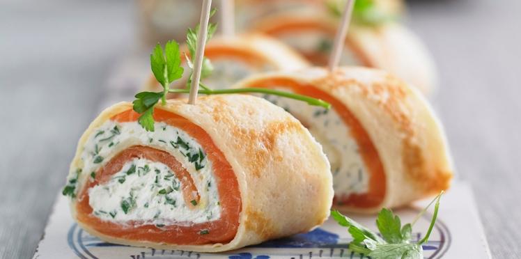 Crêpes roulées au saumon fumé et cream cheese