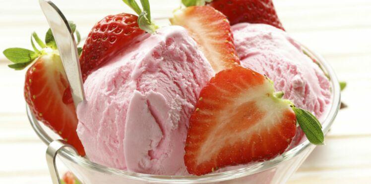 Glace au yaourt et aux fraises