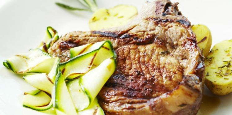 Côtes de porc provençales aux courgettes