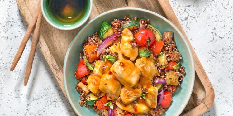 Poulet aigre douce, quinoa rouge et légumes d'été
