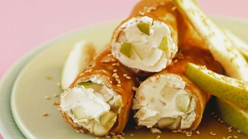 Crêpes au cream cheese et dés de poire