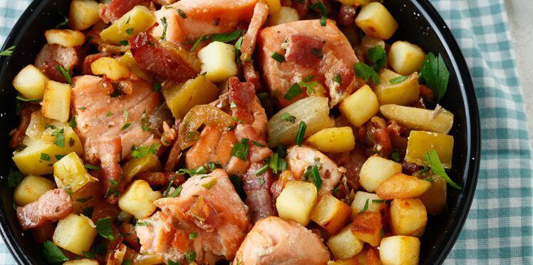 Sauté de saumon mariné au bacon de Sophie Dudemaine