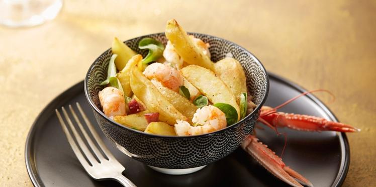 Salade tiède de langoustines et pommes de terre à l'huile de truffe