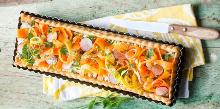 Tarte fraîche aux carottes et à la brousse