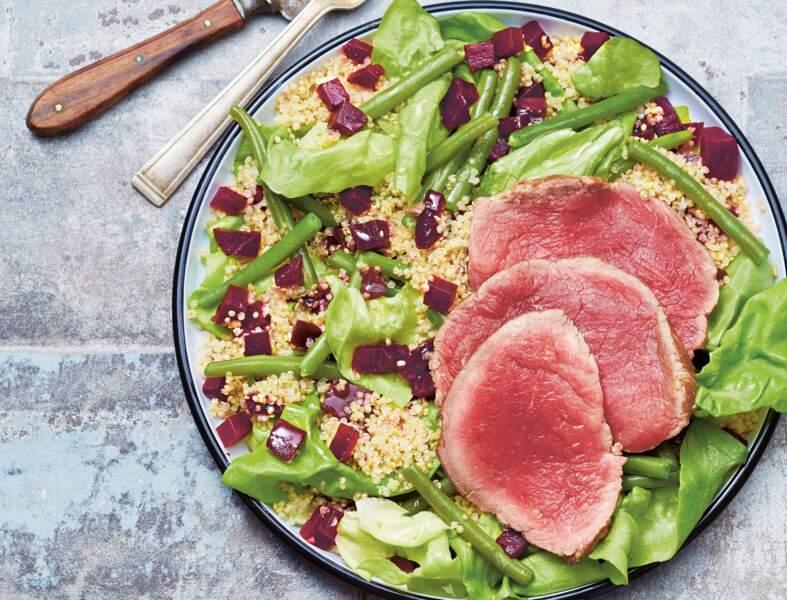 Salade de bœuf au quinoa, haricots et betterave
