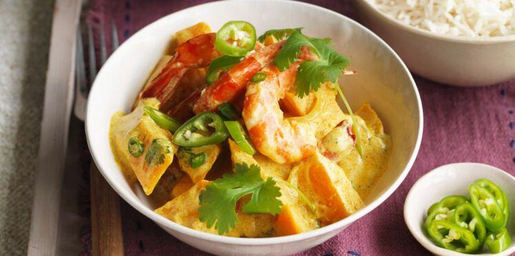 Curry de crevettes à la courge butternut