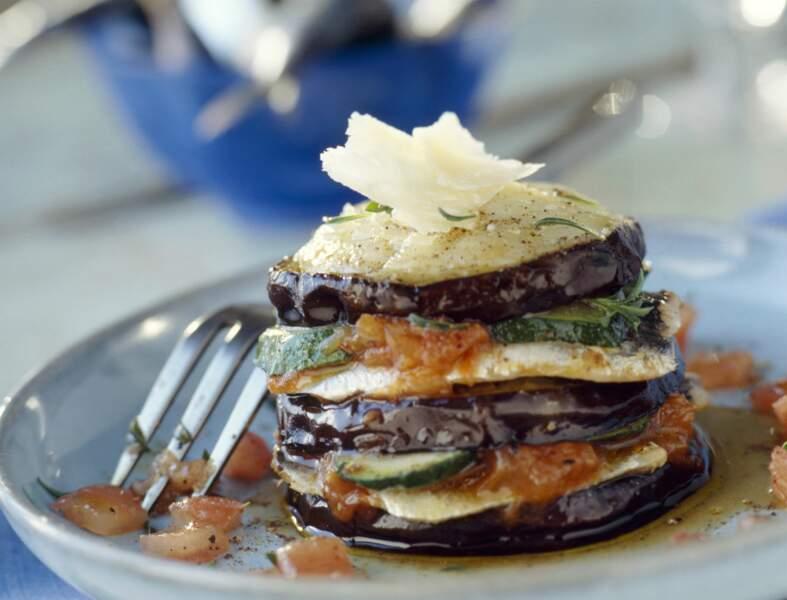 Lasagnes d'aubergines à la brousse et au pesto