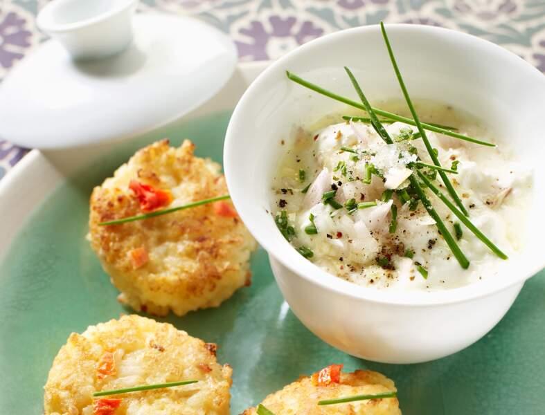Fromage frais aux herbes, galettes de riz