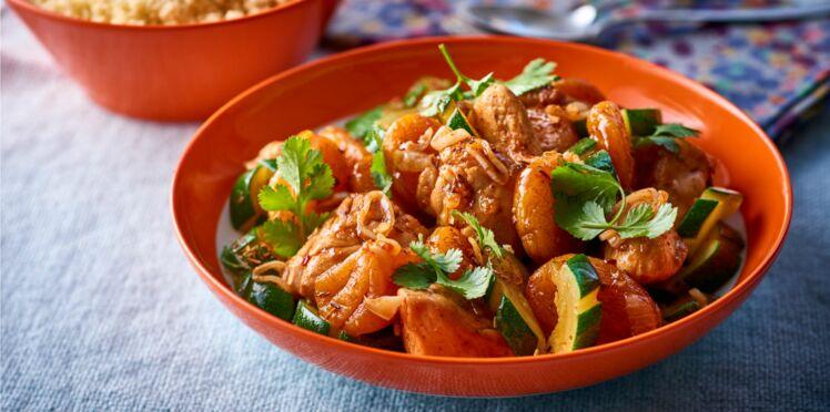 Sauté de poulet aux abricots secs