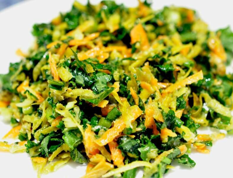 Salade de chou kale aux betteraves jaunes