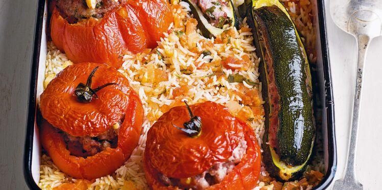 Légumes farcis aux pignons sur lit de riz