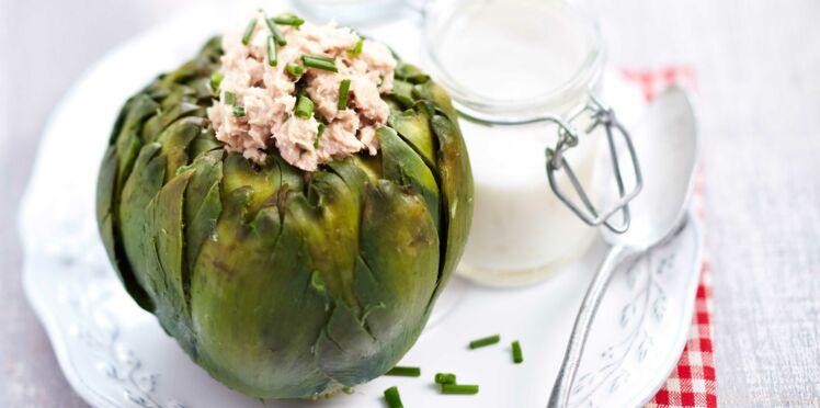 Recette légère : fleur d'artichaut farcie à la mousse de thon