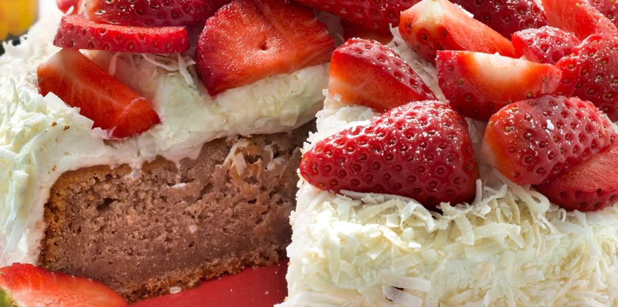 Gâteau fraises coco