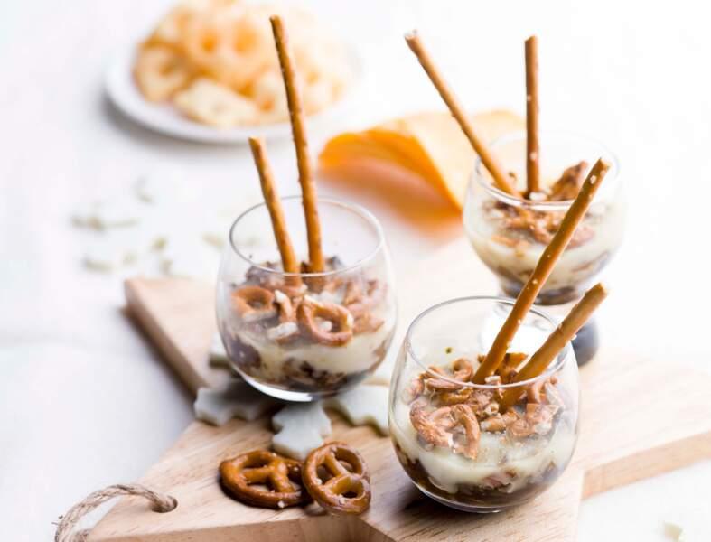 Gémeaux : des verrines de bretzels et sa compotée d'échalotes et raclette pour Noël