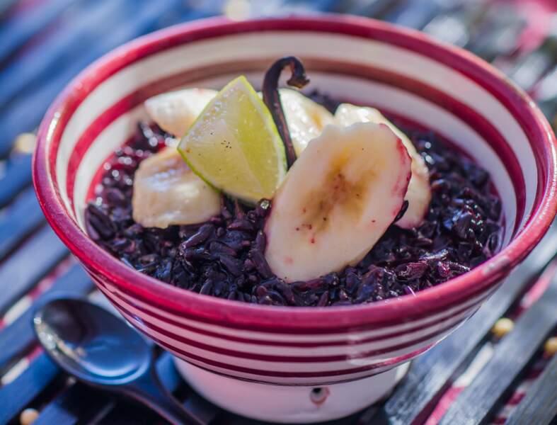 Pudding de riz noir à la banane