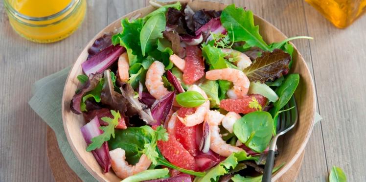 Salade gourmande mesclun et crevettes marinées
