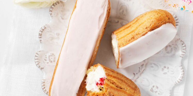 Eclair au St Môret, vanille et framboises