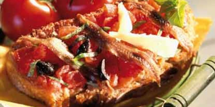 Bruschetta à la tomate et aux anchois