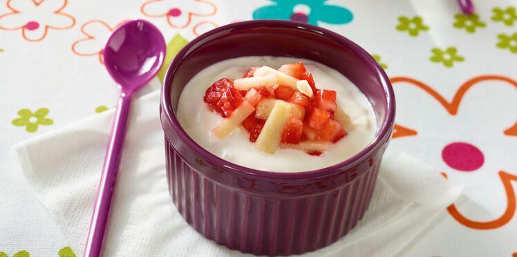 Fromage blanc aux fraises et aux pommes