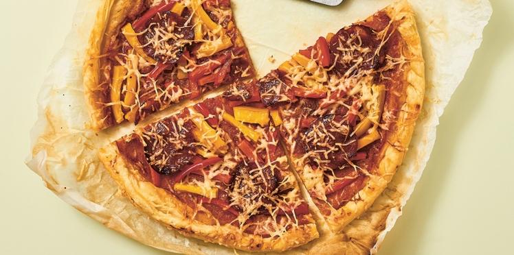 Tarte fine aux poivrons et au chorizo en 7 minutes