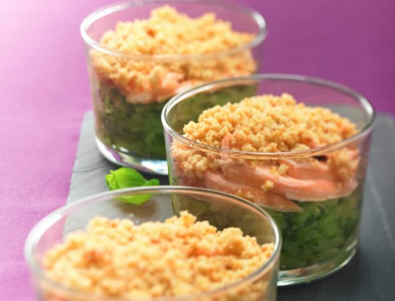 Crumble de courgettes aux deux saumons