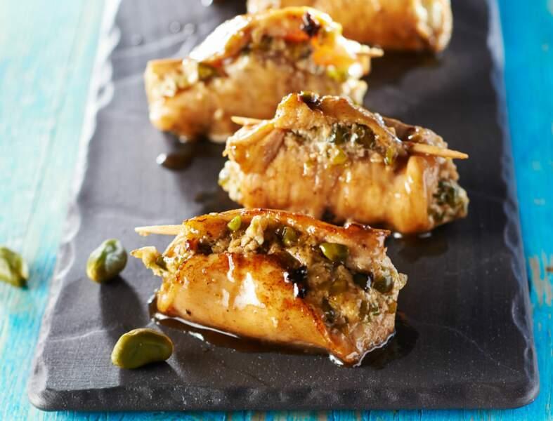 Saltimbocca de poulet aux olives et pistaches