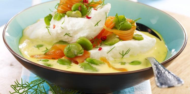 Oeufs à la neige saumon curry