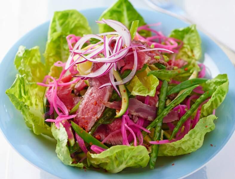 Salade de bœuf grillé minute relevée à la citronnelle