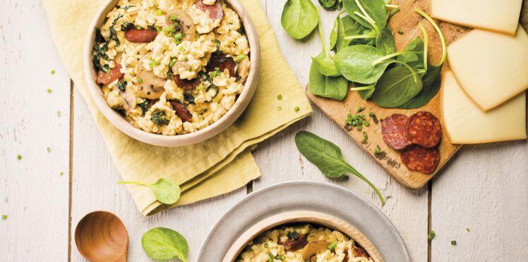 Blésotto aux épinards, champignons et raclette