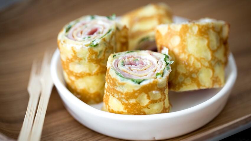 Crêpes au jambon et fromage frais